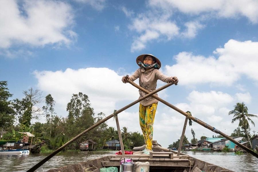 Sampan boat in Mekong Delta