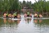 Basket boat racing in Hoi An