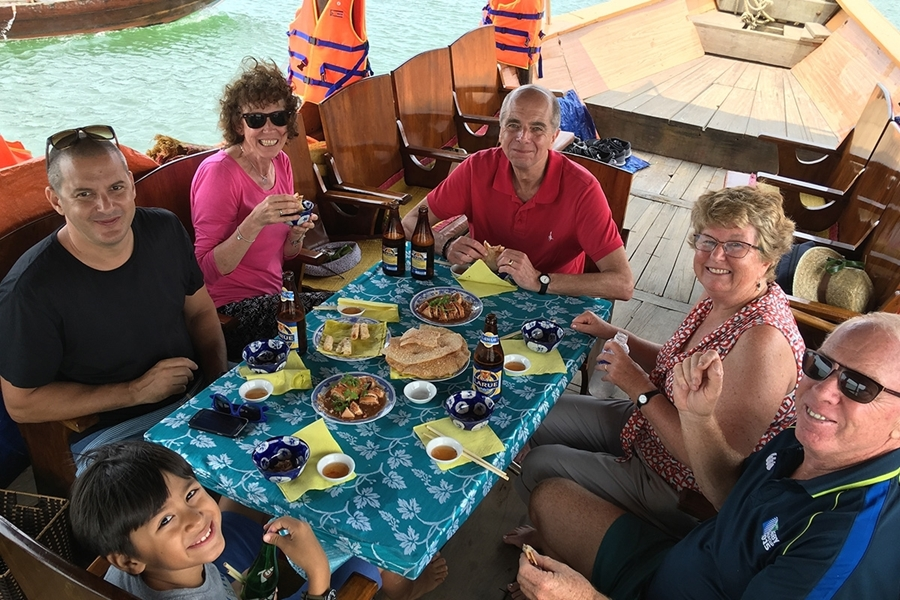 Luch on boat in Hoi An